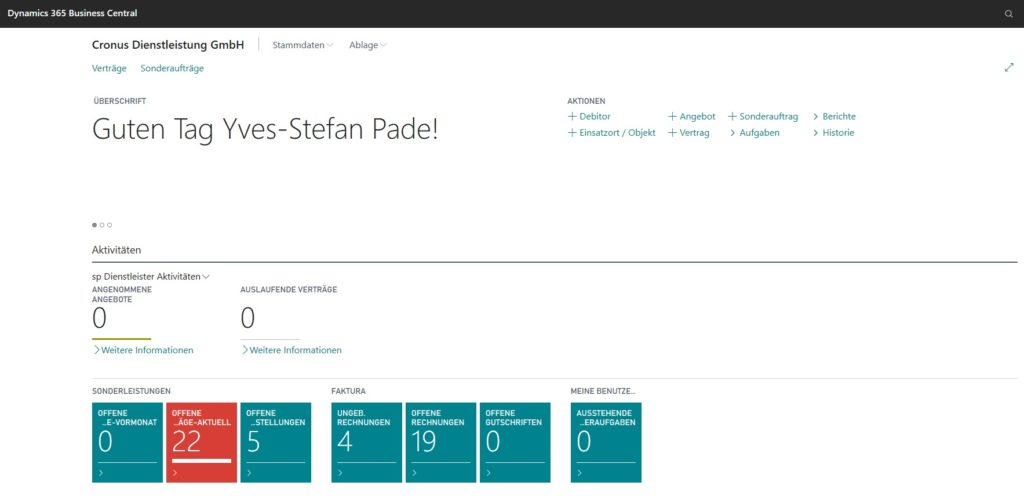 Start Rollencenter in Dynamics 365 Business Central